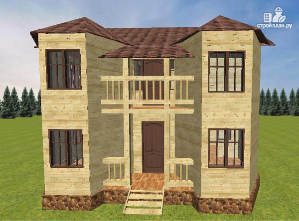 Дом из бруса с эркером и балконом.