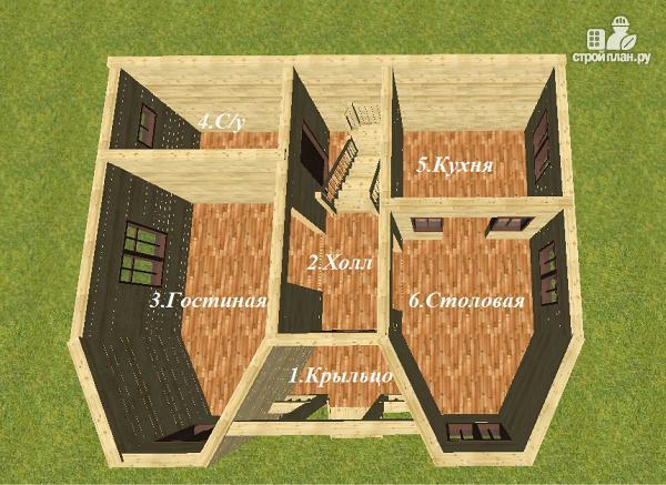 Фото 10: проект дом из бруса с эркерами и балконом