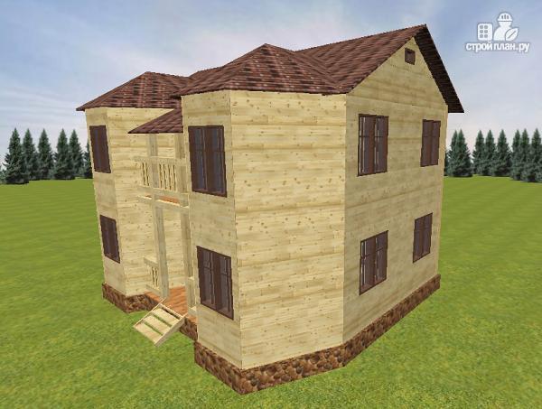 Фото 6: проект дом из бруса с эркерами и балконом