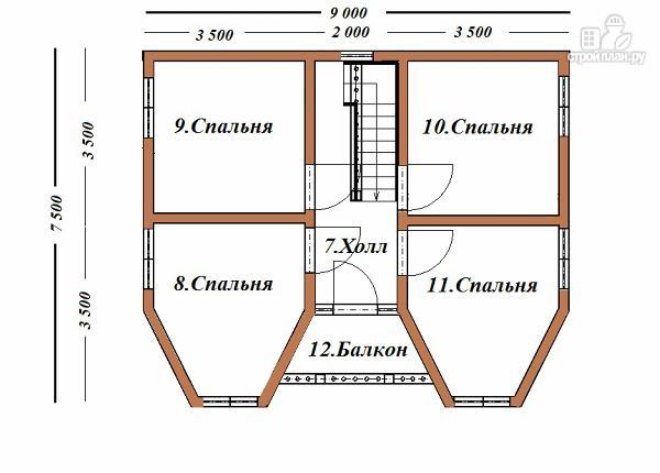 Фото 11: проект дом из бруса с эркерами и балконом