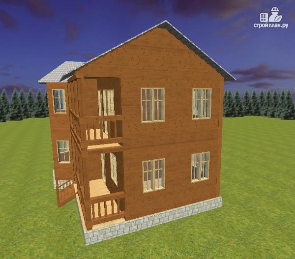 Дом из бруса 7х9 с эркером и балконом, проект астория.