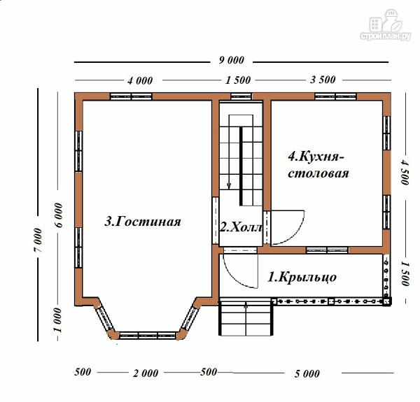 Фото 8: проект дом из бруса 7х9 с эркером и балконом