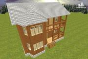 Проект дом из бруса 7х9 с эркером и балконом