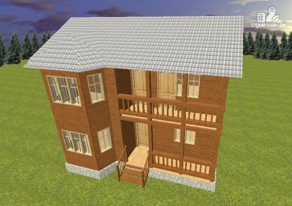Фото 2: проект дом из бруса 7х9 с эркером и балконом