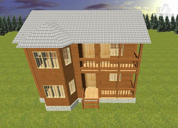 Фото 3: проект дом из бруса 7х9 с эркером и балконом