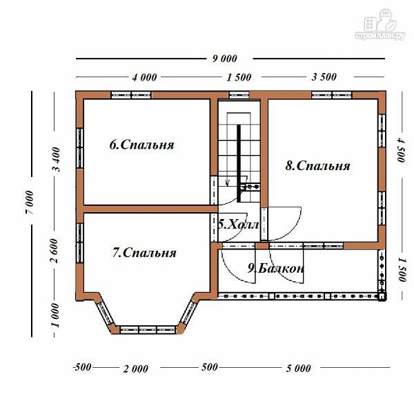 Фото 10: проект дом из бруса 7х9 с эркером и балконом