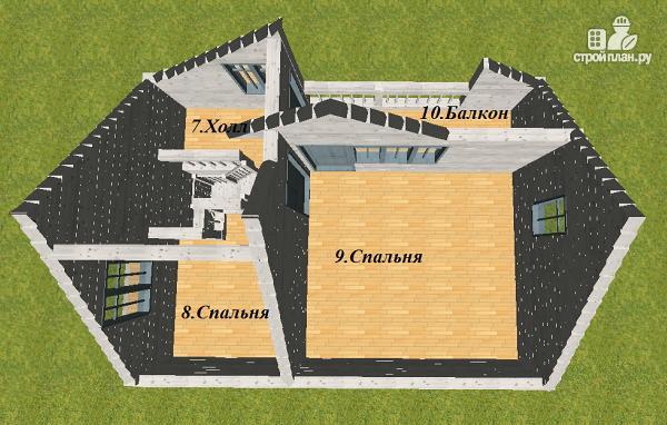 Фото 11: проект дом из бруса 7х9 с эркерами и балконом