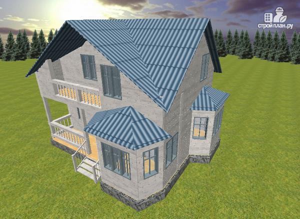 Фото 2: проект дом из бруса 7х9 с эркерами и балконом