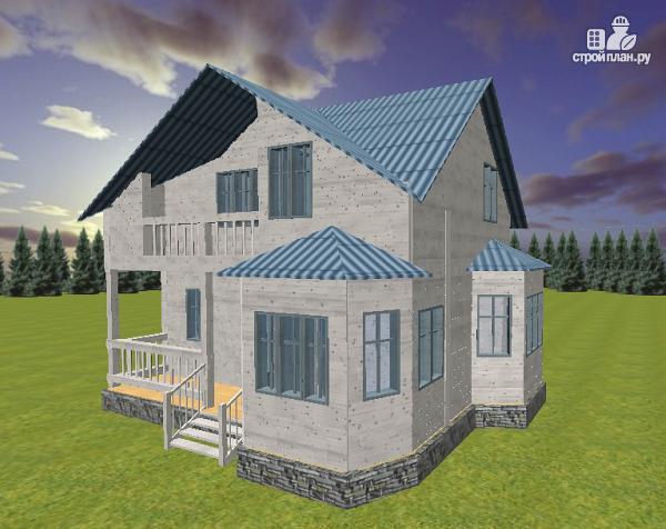 Фото: проект дом из бруса 7х9 с эркерами и балконом