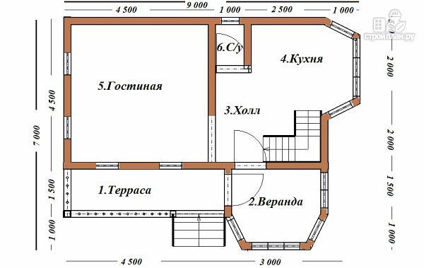 Фото 8: проект дом из бруса 7х9 с эркерами и балконом