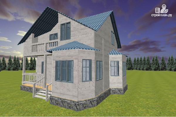 Дом из бруса 7х9 с эркерами и балконом, проект фердинанд.