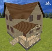 Проект дом из бруса 7.5х8 с террасой