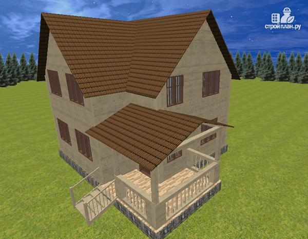 Фото 2: проект дом из бруса 7.5х8 с террасой