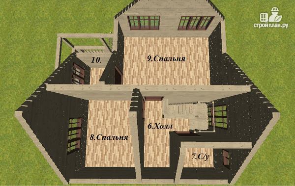 Фото 11: проект дом из бруса 7.5х8 с террасой
