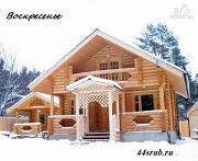 Проект сруб дома из бревна 8х12 с крыльцом и балконом