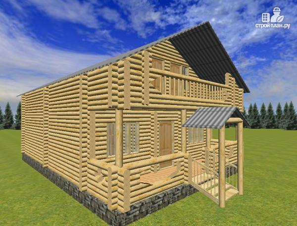 Фото 3: проект сруб дома из бревна 8х12 с крыльцом и балконом
