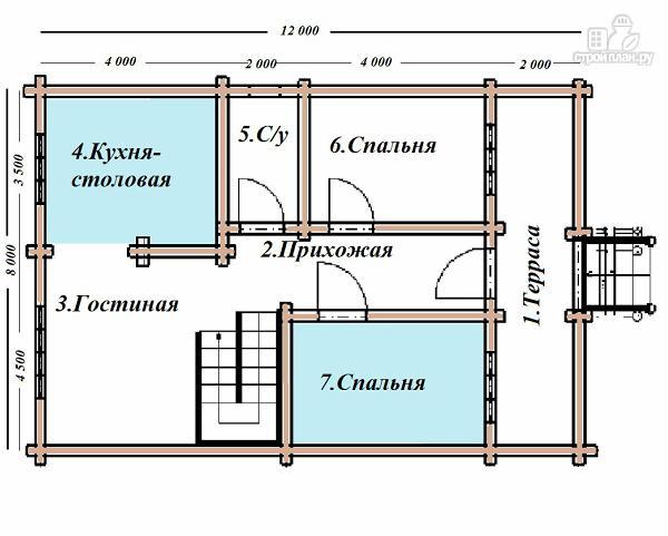 Фото 8: проект сруб дома из бревна 8х12 с крыльцом и балконом