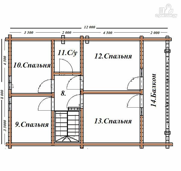 Фото 10: проект сруб дома из бревна 8х12 с крыльцом и балконом