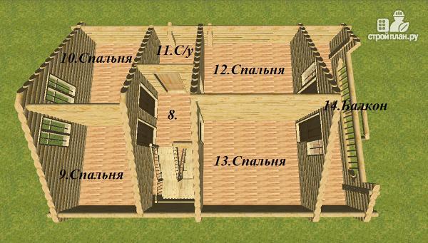 Фото 11: проект сруб дома из бревна 8х12 с крыльцом и балконом