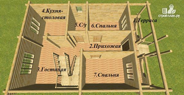 Фото 9: проект сруб дома из бревна 8х12 с крыльцом и балконом