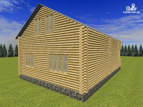 Фото 4: проект сруб дома из бревна 8х12 с крыльцом и балконом
