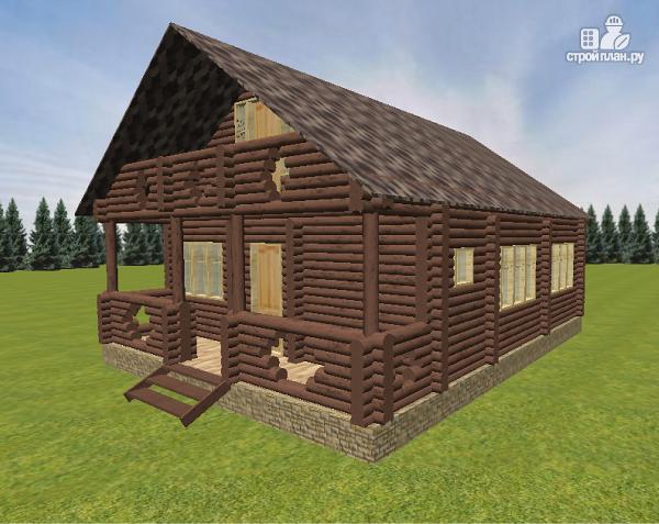 Фото 7: проект дом бревенчатый 8х10 с террасой и балконом