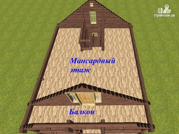 Фото 10: проект дом бревенчатый 8х10 с террасой и балконом