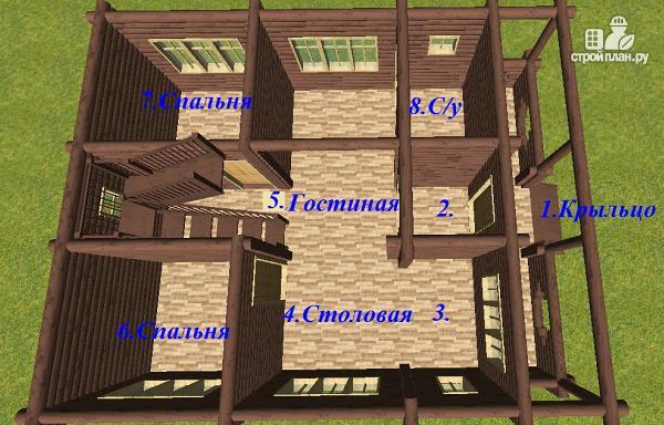 Фото 9: проект дом бревенчатый 8х10 с террасой и балконом