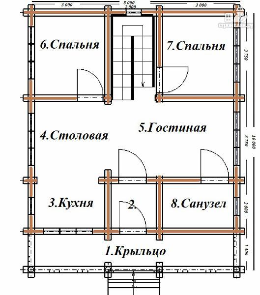 Фото 8: проект дом бревенчатый 8х10 с террасой и балконом