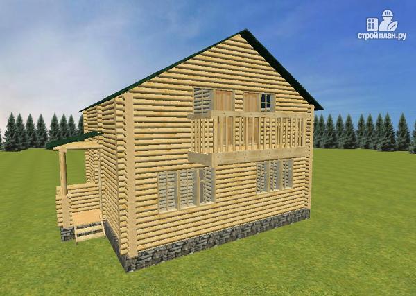 Фото 2: проект бревенчатый дом 8х8 с балконами