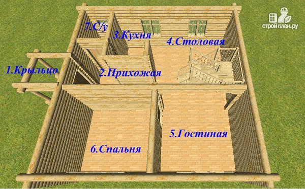 Фото 10: проект бревенчатый дом 8х8 с балконами