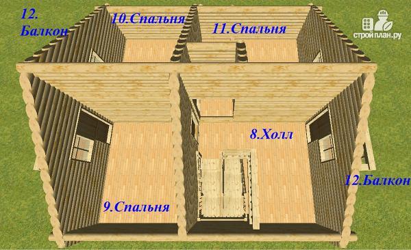 Фото 12: проект бревенчатый дом 8х8 с балконами
