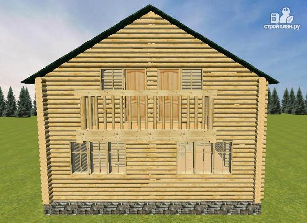 Фото 8: проект бревенчатый дом 8х8 с балконами