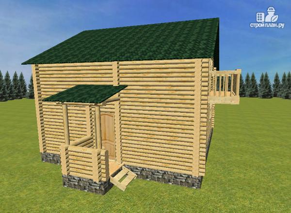 Фото 4: проект бревенчатый дом 8х8 с балконами