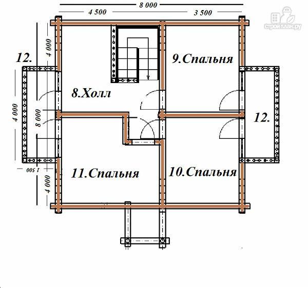 Фото 11: проект бревенчатый дом 8х8 с балконами