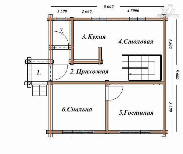 Фото 9: проект бревенчатый дом 8х8 с балконами