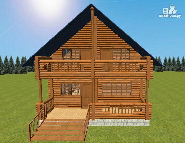 Фото 3: проект сруб дома из бревна 8х12 с террасой и балконом