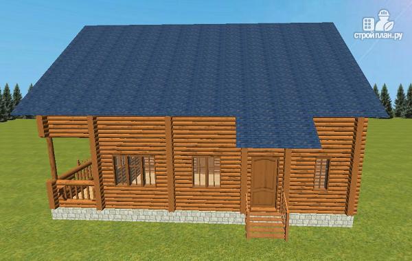 Фото 7: проект сруб дома из бревна 8х12 с террасой и балконом