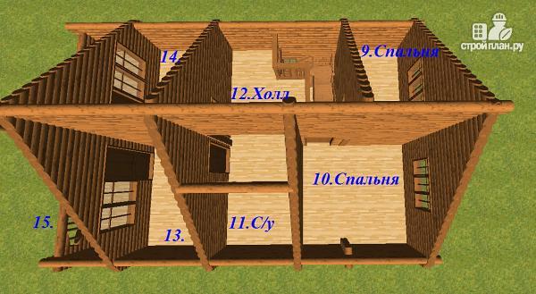 Фото 11: проект сруб дома из бревна 8х12 с террасой и балконом
