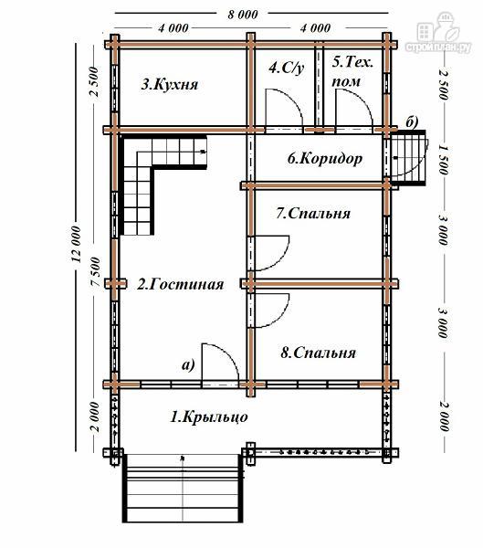 Фото 8: проект сруб дома из бревна 8х12 с террасой и балконом