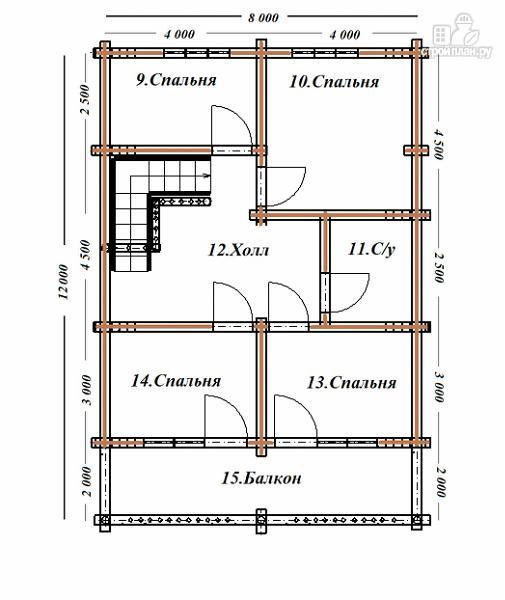 Фото 10: проект сруб дома из бревна 8х12 с террасой и балконом
