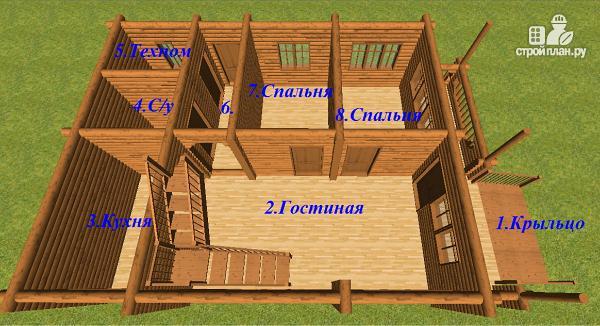 Фото 9: проект сруб дома из бревна 8х12 с террасой и балконом