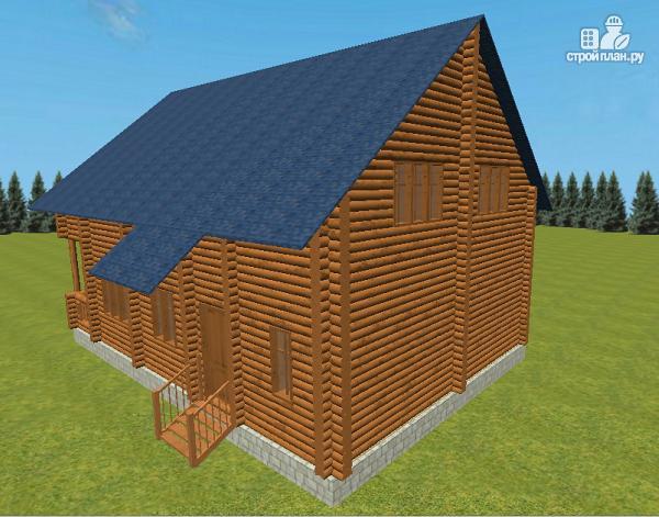 Фото 6: проект сруб дома из бревна 8х12 с террасой и балконом