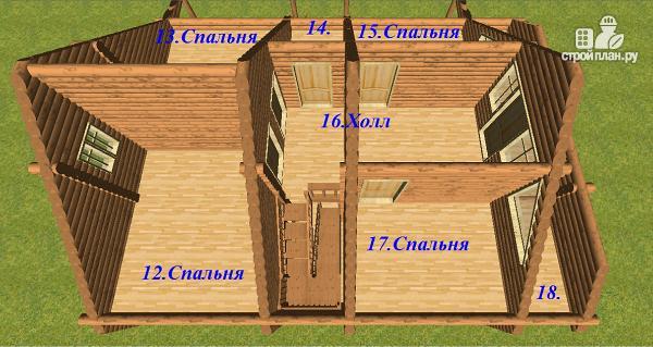 Фото 13: проект бревенчатый дом 10х10.5 с большой летней террасой и балконом