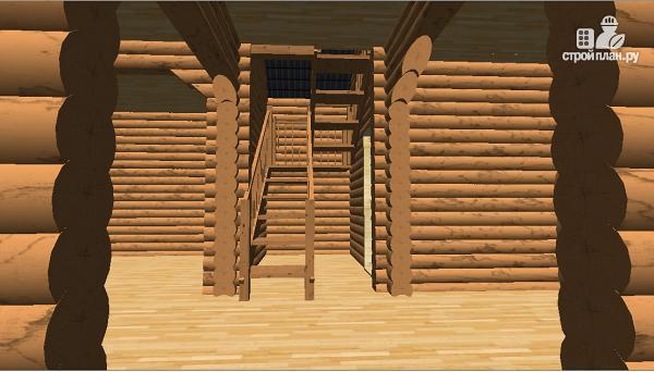 Фото 15: проект бревенчатый дом 10х10.5 с большой летней террасой и балконом