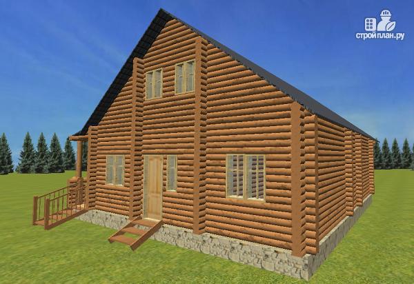 Фото 7: проект бревенчатый дом 10х10.5 с большой летней террасой и балконом