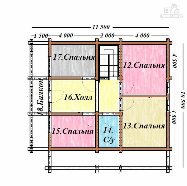 Фото 12: проект бревенчатый дом 10х10.5 с большой летней террасой и балконом