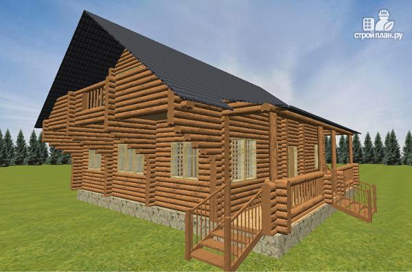 Фото 2: проект бревенчатый дом 10х10.5 с большой летней террасой и балконом