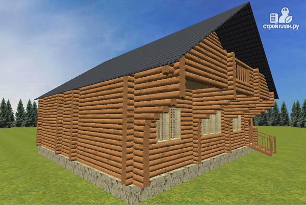 Фото 4: проект бревенчатый дом 10х10.5 с большой летней террасой и балконом