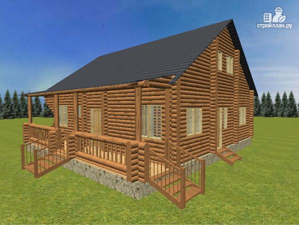 Фото 6: проект бревенчатый дом 10х10.5 с большой летней террасой и балконом
